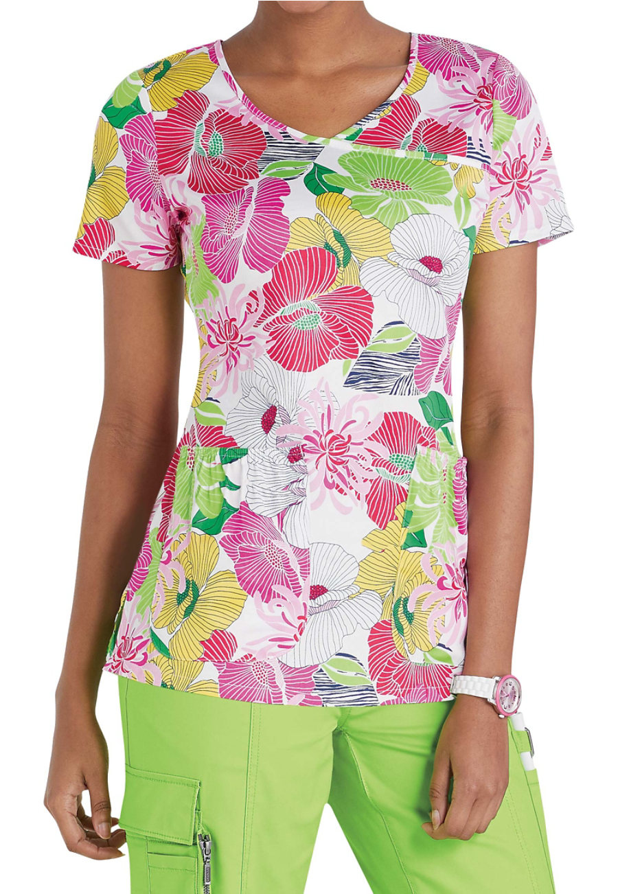 Beyond Scrubs Tropical Paradise Crossover Print Scrub Tops - Tropical Paradise