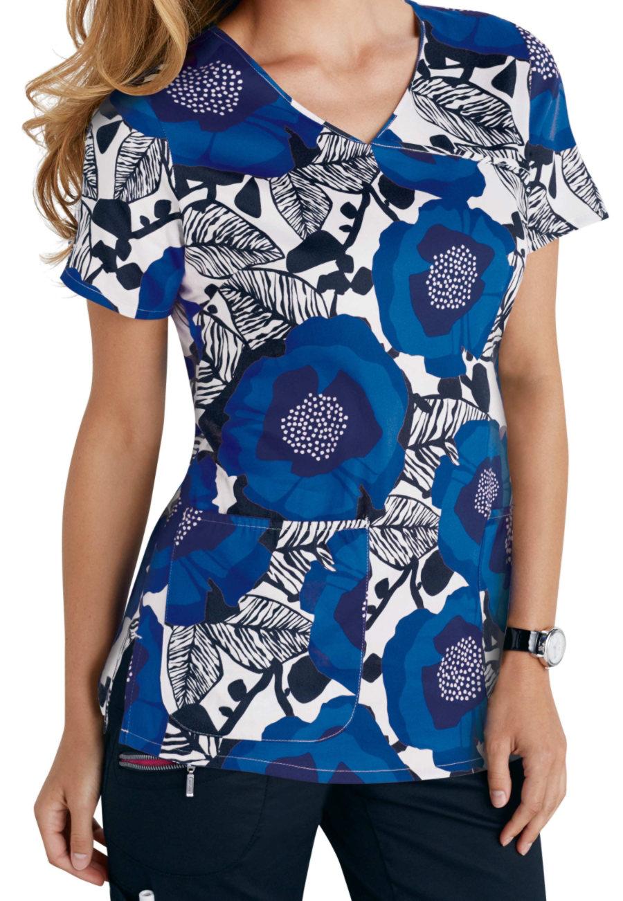 Beyond Scrubs Wild Flower Royal Y-neck Print Scrub Tops - Wild Flower Royal - L plus size,  plus size fashion plus size appare