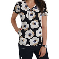 Beyond Scrubs Exploded Floral Print Tops