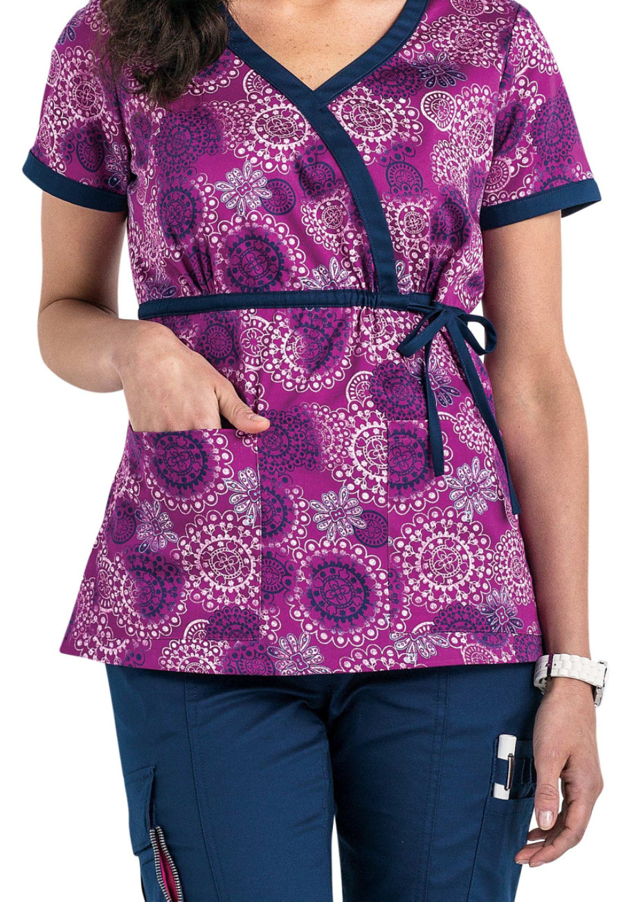Beyond Scrubs Spirals Purple Tie Wrap Print Scrub Tops - Spirals Purple