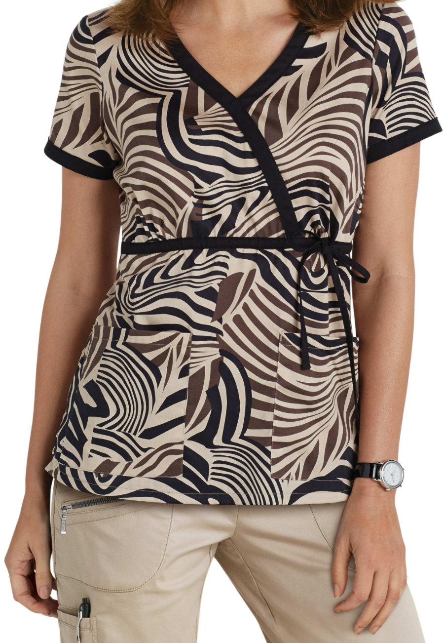 Beyond Scrubs Zebra Tie Wrap Print Scrub Tops - Zebra Khaki/Black - XS plus size,  plus size fashion plus size appare