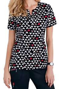 Beyond Scrubs Red Hearts Henley Print Scrub Tops