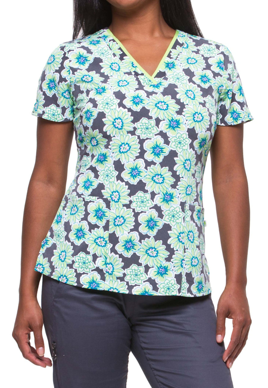 Healing Hands Purple Label Amanda Aster Bloom Print Scrub Tops