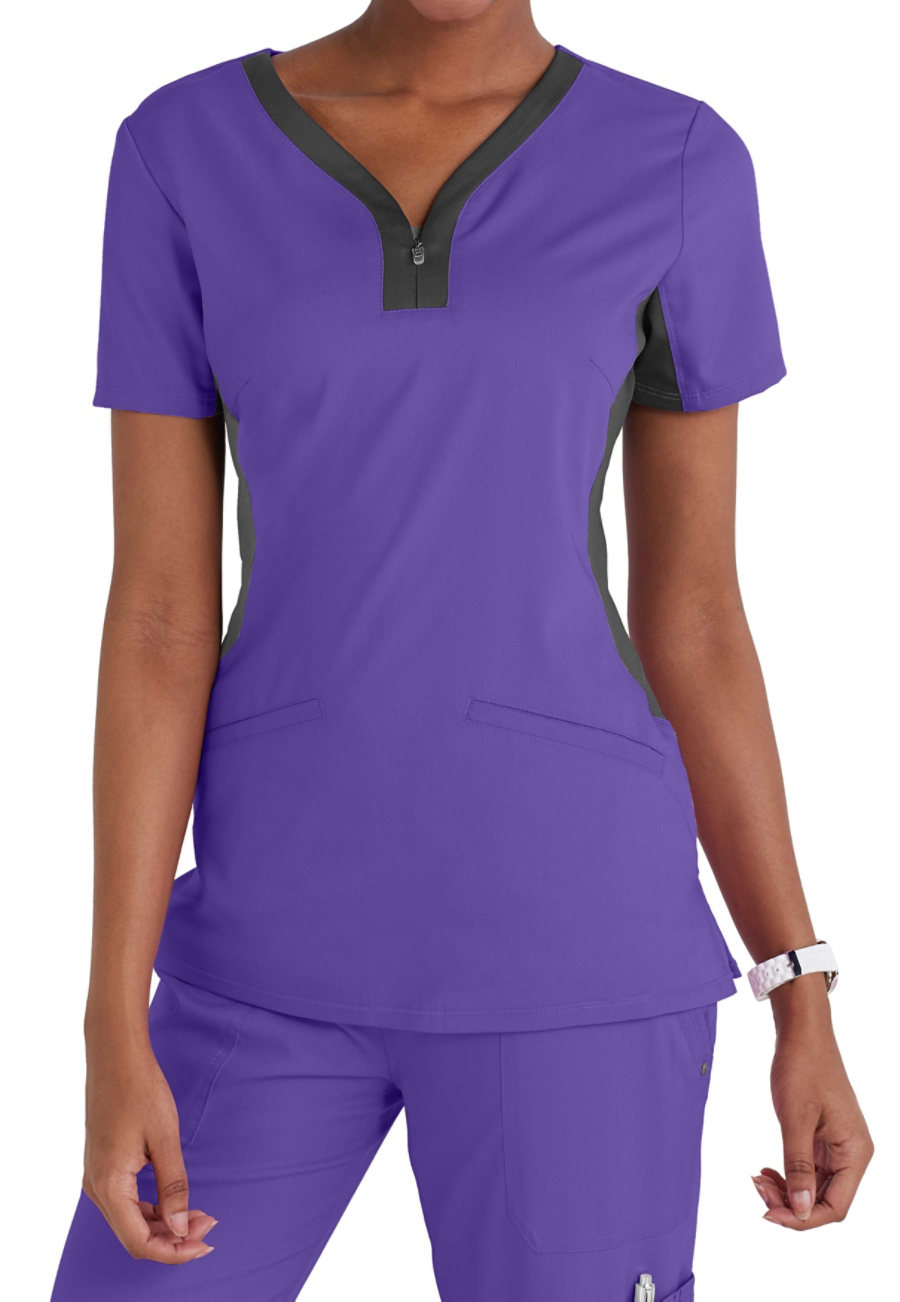 Healing Hands Purple Label Jessi Y-neck Contrast Knit Side Panels Scrub Tops - Grape/Pewter - 2X plus size,  plus size fashion plus size appare