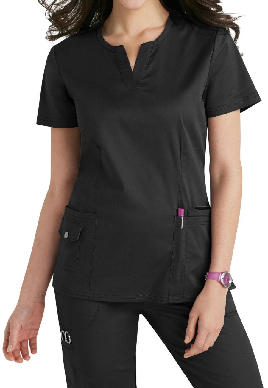 Beyond Scrubs Juna Split V-neck Scrub Tops - Black - 3X plus size,  plus size fashion plus size appare