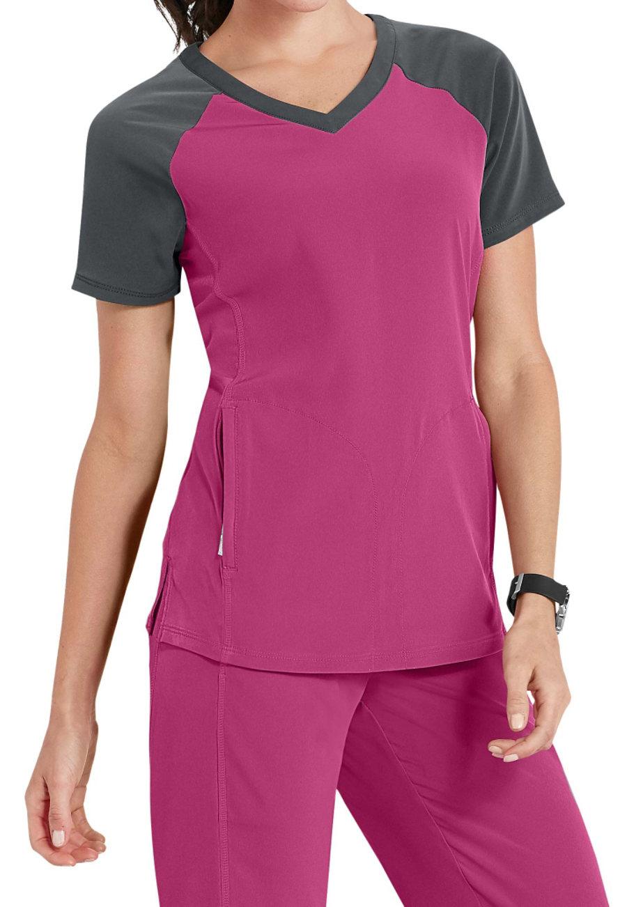 Beyond Scrubs Active Sophie Color Block Scrub Tops - Berry/Graphite - 2X plus size,  plus size fashion plus size appare