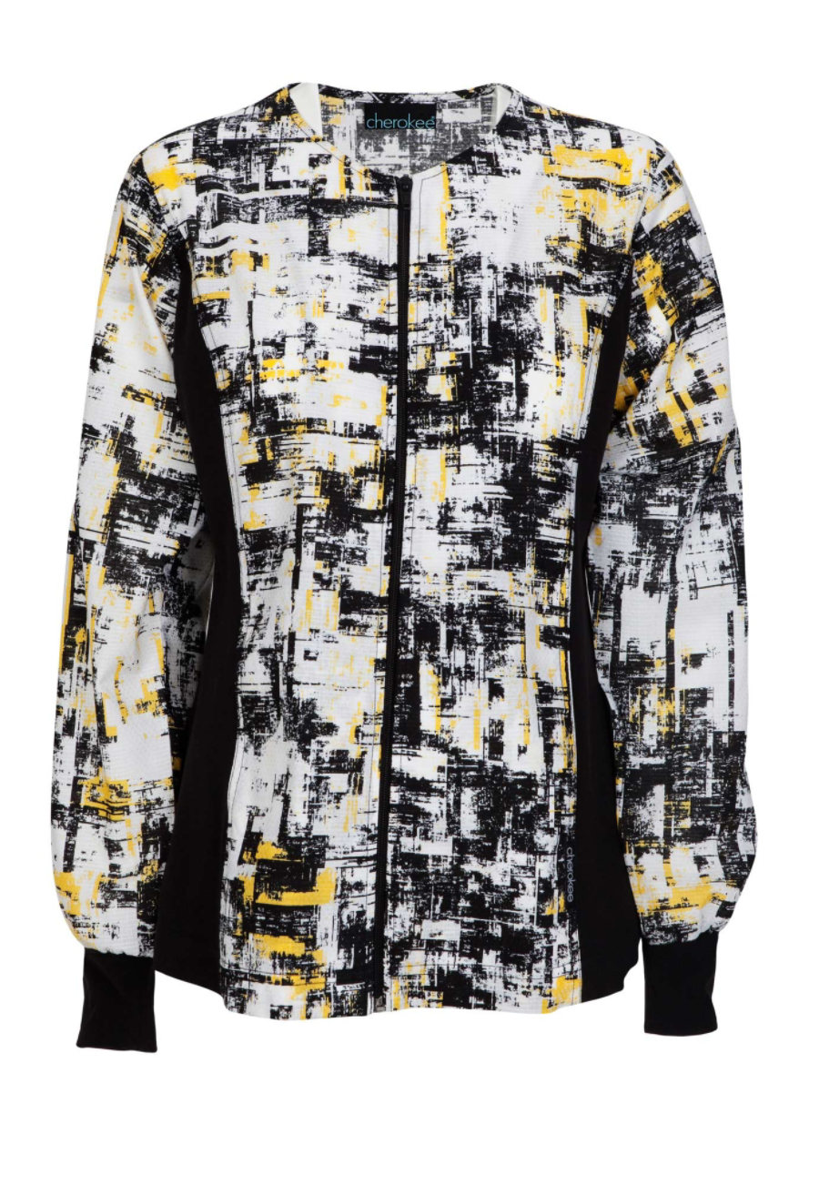 Cherokee Flexibles In The Abstract Print Scrub Jackets - In the Abstract - XS plus size,  plus size fashion plus size appare