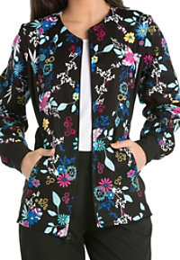 Cherokee Flexibles You Petal Believe It Print Scrub Jackets