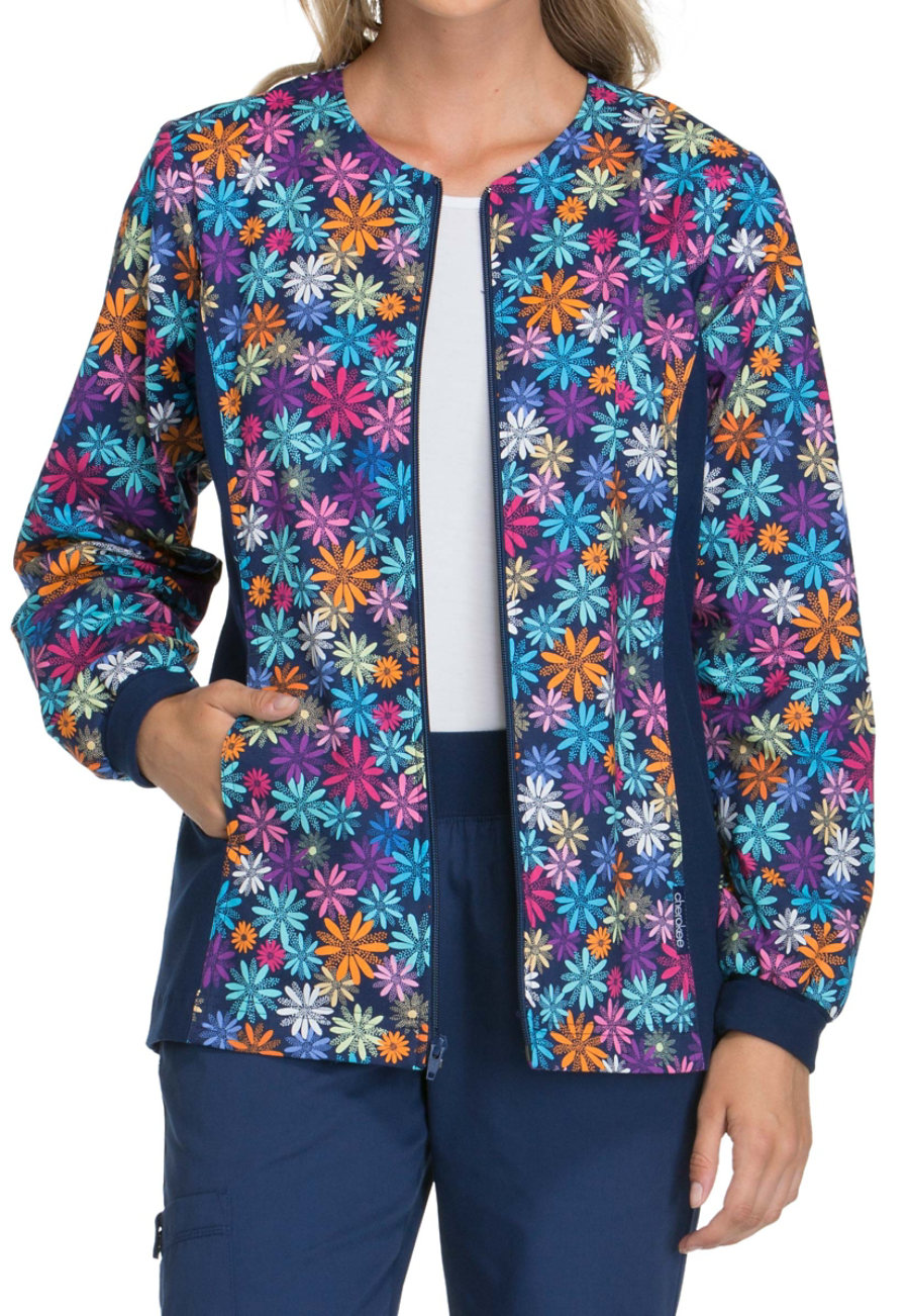 Cherokee Flexibles Dot-ful Daisy Print Scrub Jackets - Dot-ful Daisy