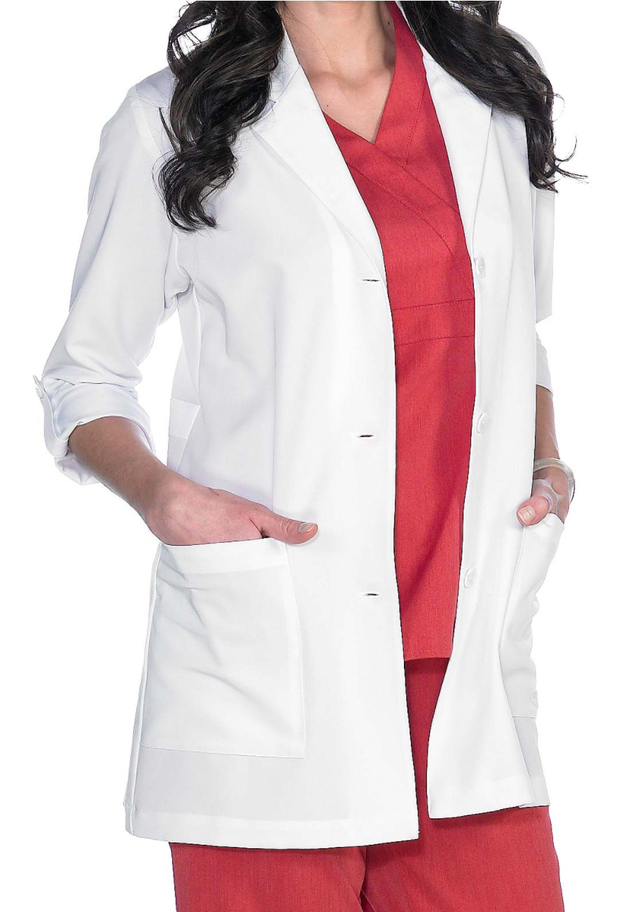 Grey's Anatomy Signature Women's 31 Inch 3/4 Roll Tab Sleeve Lab Coats - White - 2X plus size,  plus size fashion plus size appare