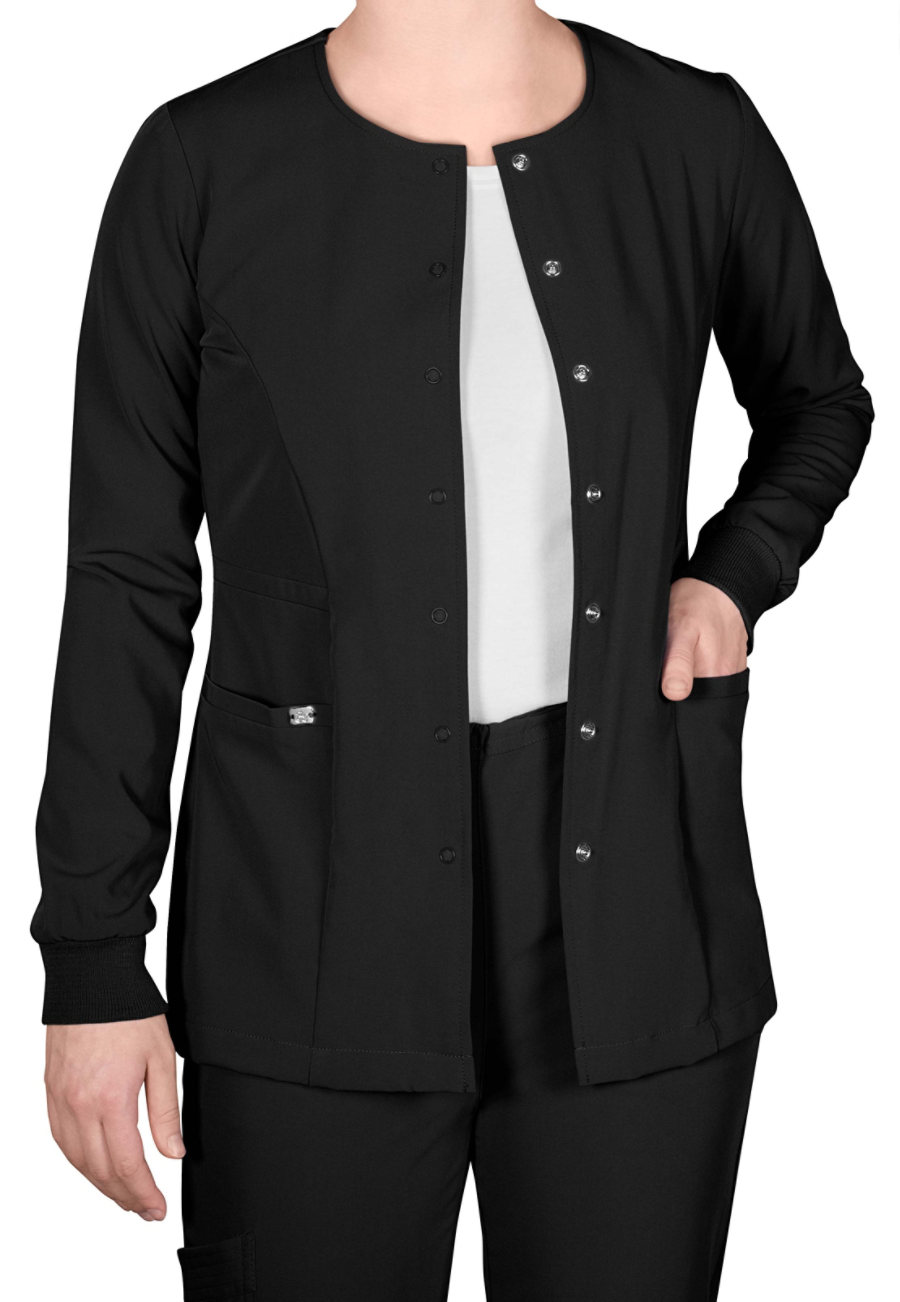Grey's Anatomy Signature Round Neck Warm Up Scrub Jackets - Black - 2X plus size,  plus size fashion plus size appare