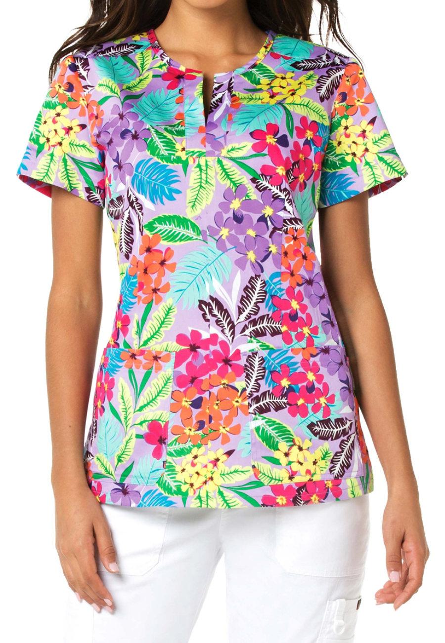 Koi SunShine Tropical Henley Print Scrub Top