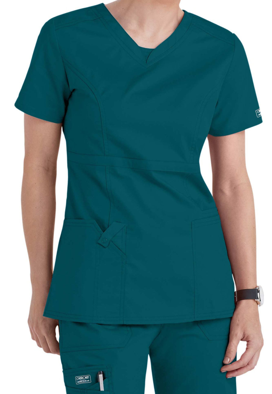 Cherokee Workwear Core Stretch V-neck Modern Fit Scrub Tops - Caribbean blue - XL plus size,  plus size fashion plus size appare