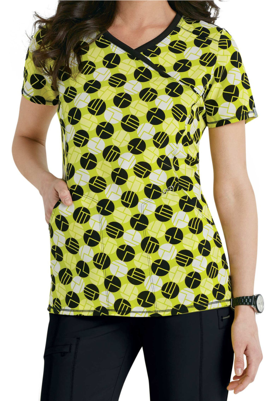 Infinity By Cherokee Dots So Mod Print Scrub Tops With Certainty - Dots So Mod