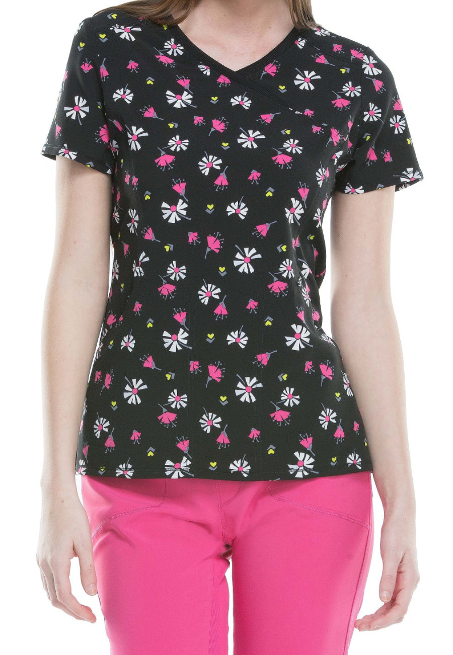 Infinity By Cherokee Flower The Leader Print Scrub Tops With Certainty - Flower The Leader