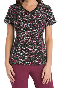 Infinity By Cherokee Heart Of The Party Print Scrub Tops With Certainty