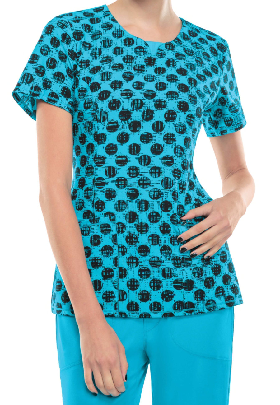 Infinity By Cherokee Dot Pursuit Turquoise Print Scrub Tops With Certainty - Dot Pursuit Turquoise