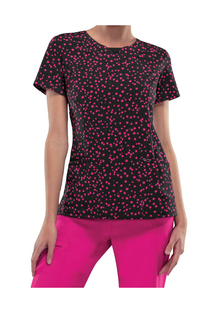 Infinity By Cherokee Polka Dot Parade Print Scrub Tops With Certainty - Polka Dot Parade
