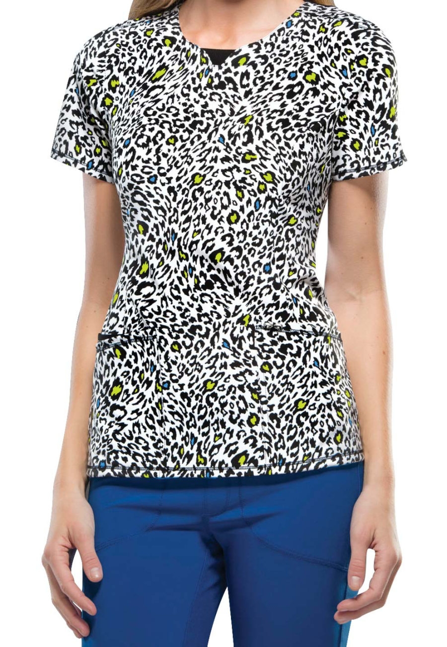 Infinity By Cherokee Spot The Leopard Curved V-neck Print Scrub Tops With Certainty - Spot the Leopard