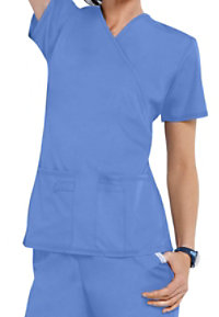 Cherokee Flexibles Mock Wrap 2 Pocket Knit Panel Scrub Tops