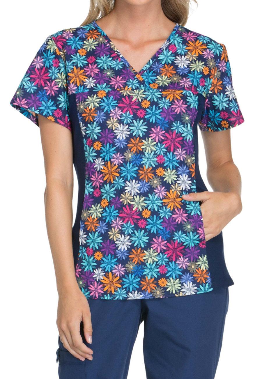 Cherokee Flexibles Dot-ful Daisy Print Scrub Tops - Dot-ful Daisy - 2X 2875DF