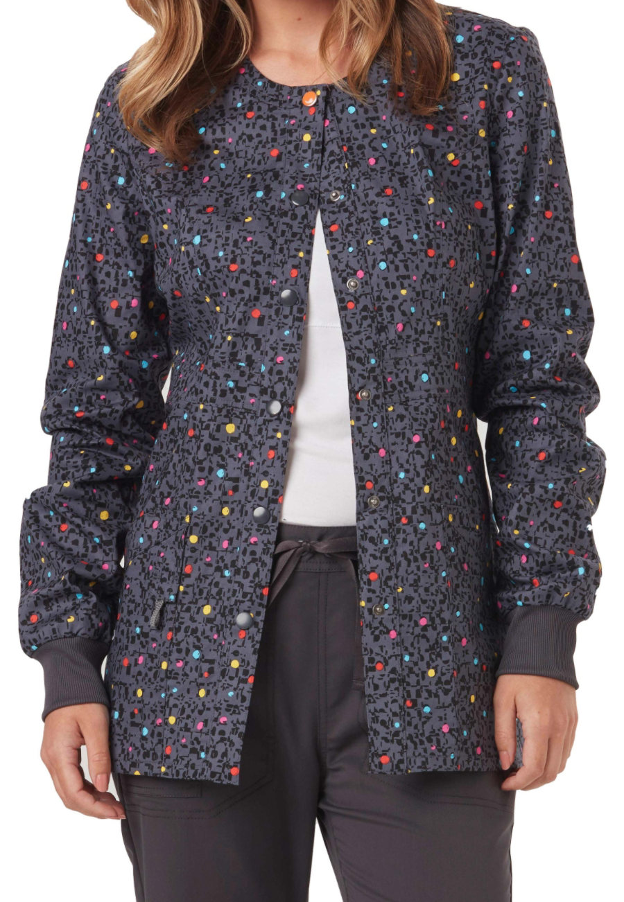 Code Happy So Speck-tacular Print Scrub Jackets With Certainty - So Speck-tacular