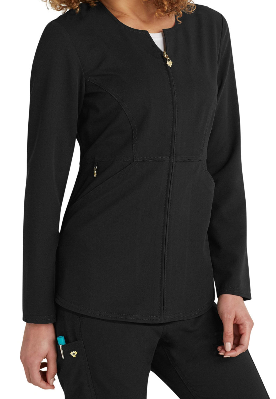 Careisma By Sofia Vergara Fearless Zip Front Scrub Jackets - Black - 2X plus size,  plus size fashion plus size appare