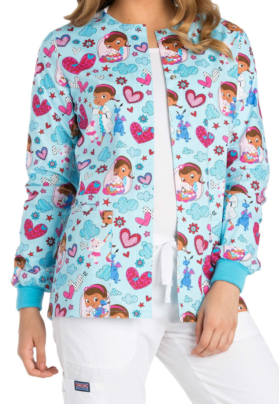 Cherokee Tooniforms Hugs Are To Heal Print Scrub Jacket - Hugs Are To Heal