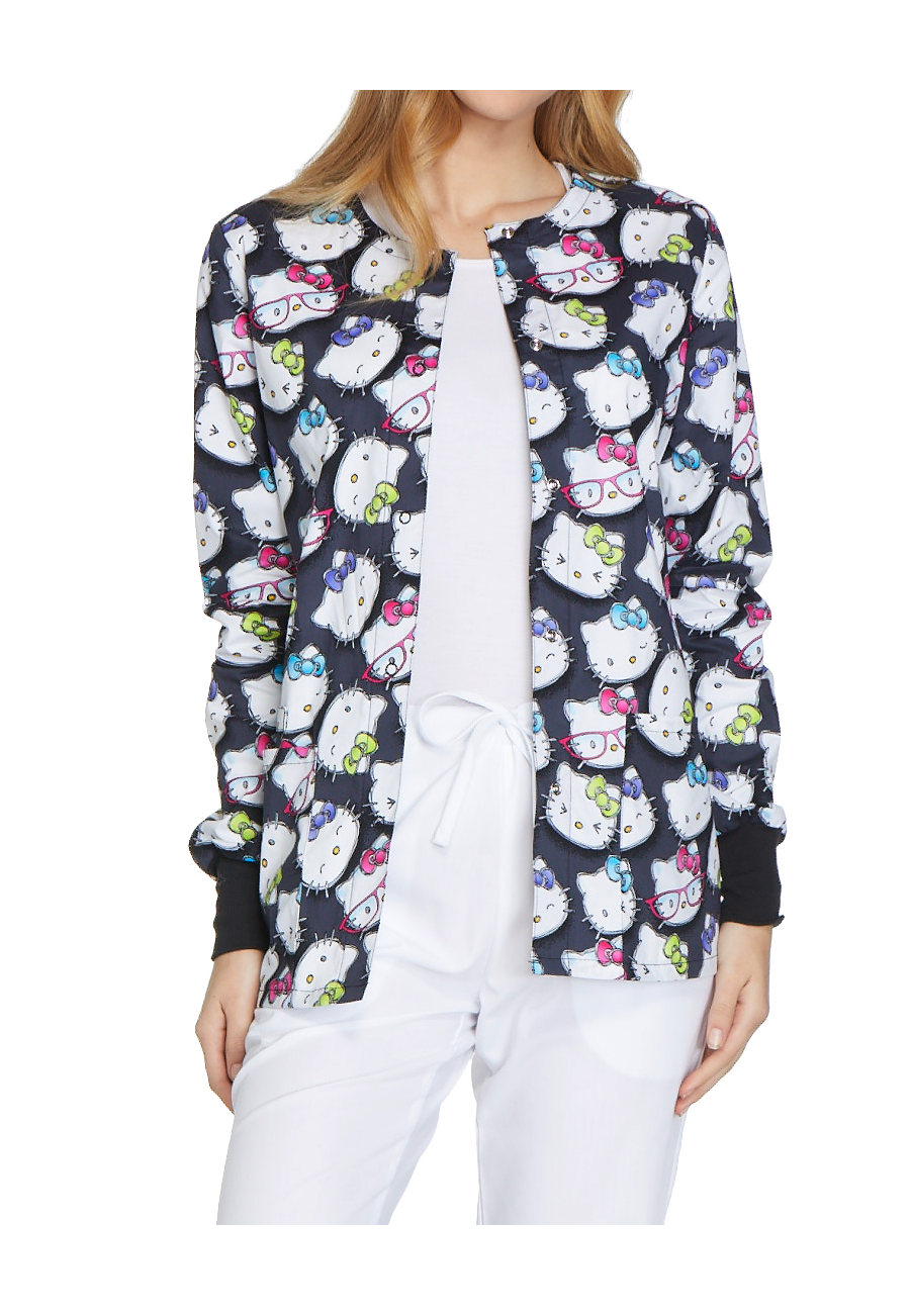 Cherokee Tooniforms Hello Kitty Glasses Print Scrub Jackets - Hello Kitty Glasses
