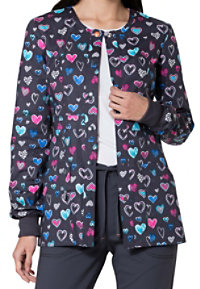 Code Happy True To Your Heart Print Scrub Jackets With Certainty