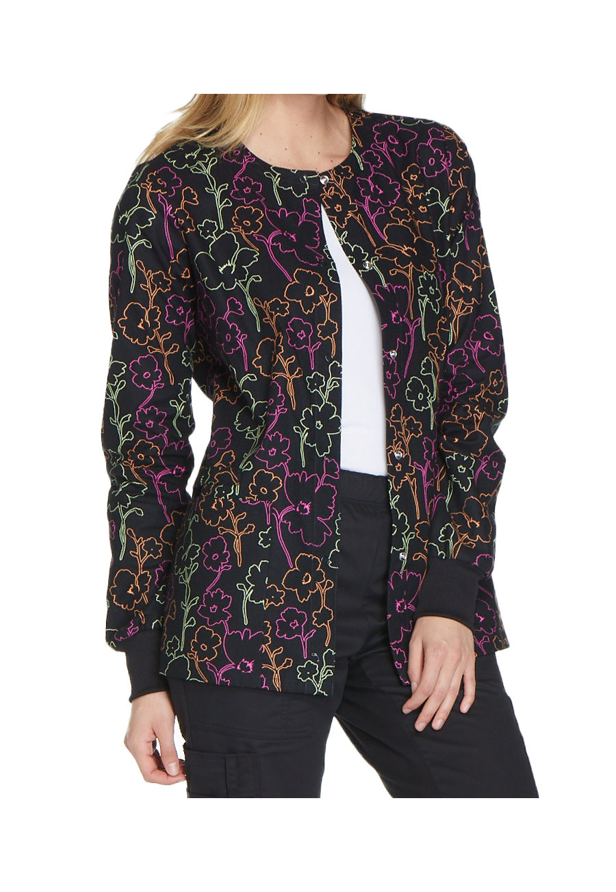 Cherokee Floral In The Dark Print Scrub Jackets - Floral In The Dark