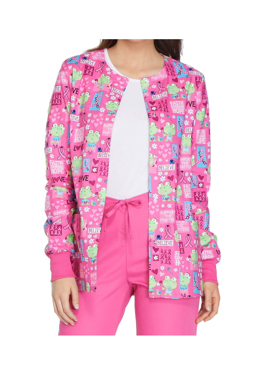 Cherokee Toad-ally Courageous Print Scrub Jackets - Toad-ally Courageous