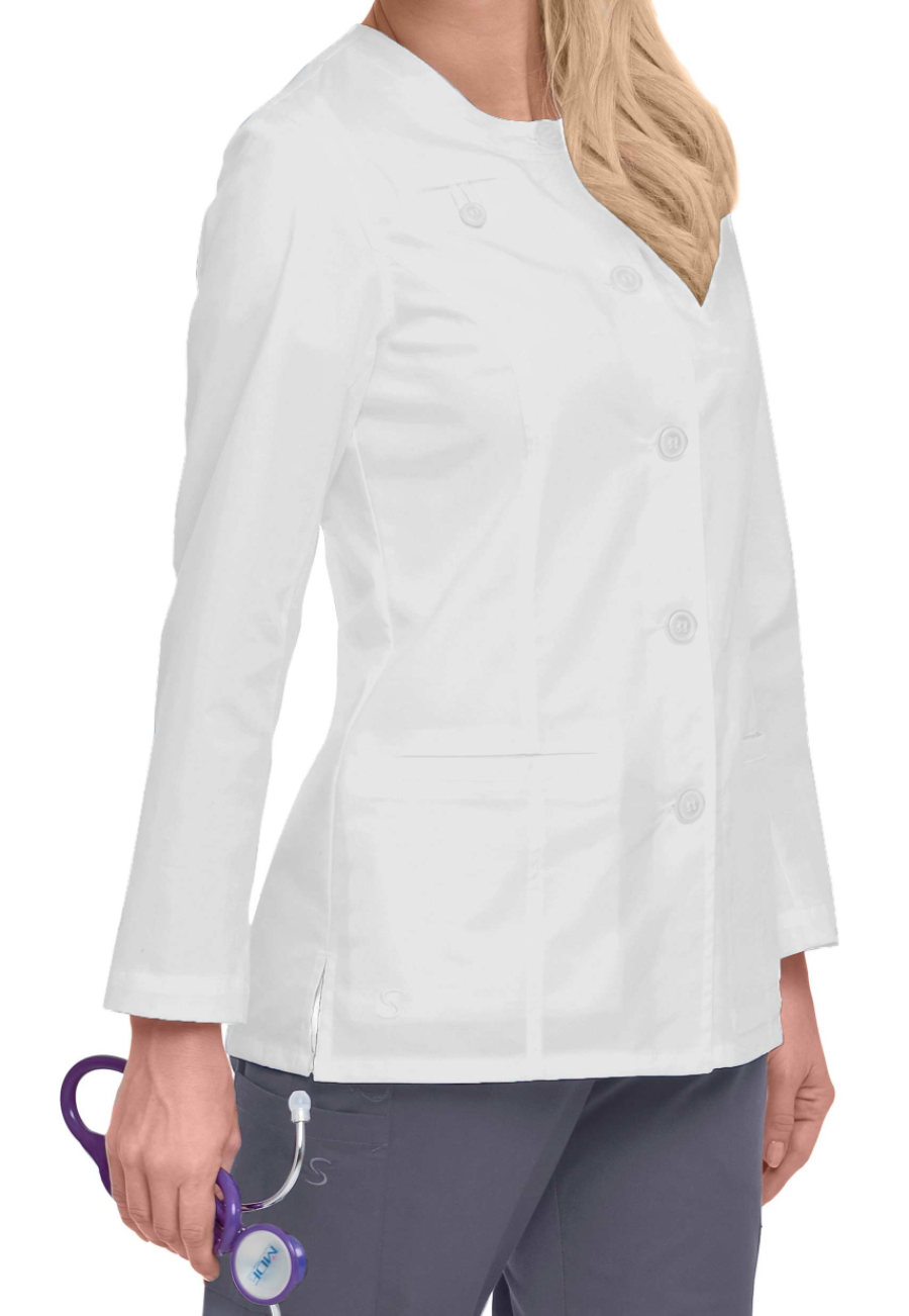 Landau Smart Stretch Women's Scrub Jackets - White - L plus size,  plus size fashion plus size appare