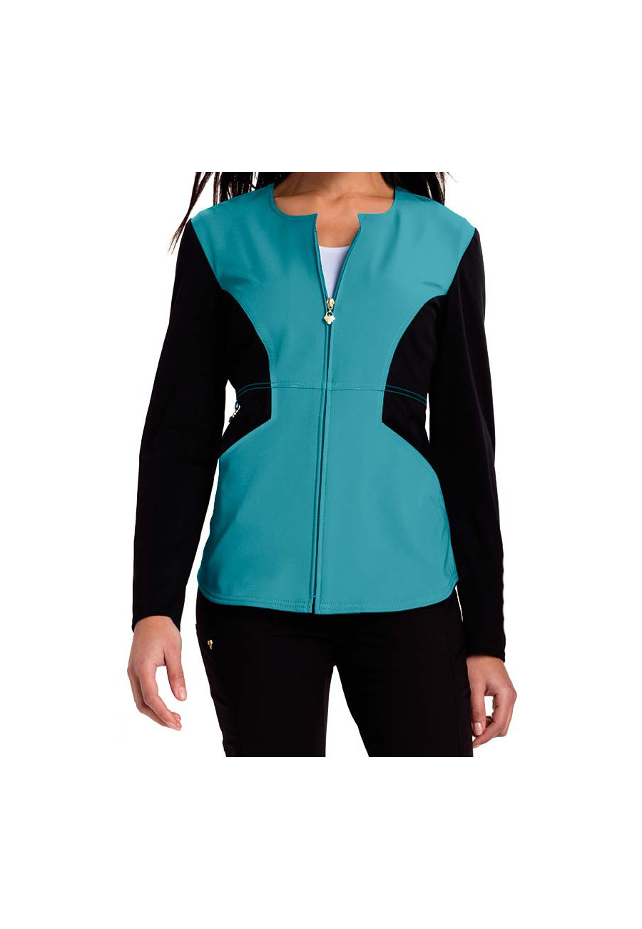 Careisma By Sofia Vergara Fearless Color Block Scrub Jackets - Aqua Rush/Black - 3X plus size,  plus size fashion plus size appare
