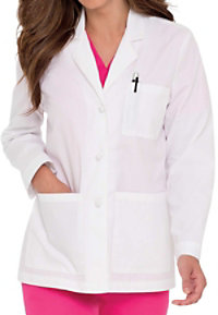 Landau Women's 28 Inch French Knot Buttons Lab Coat