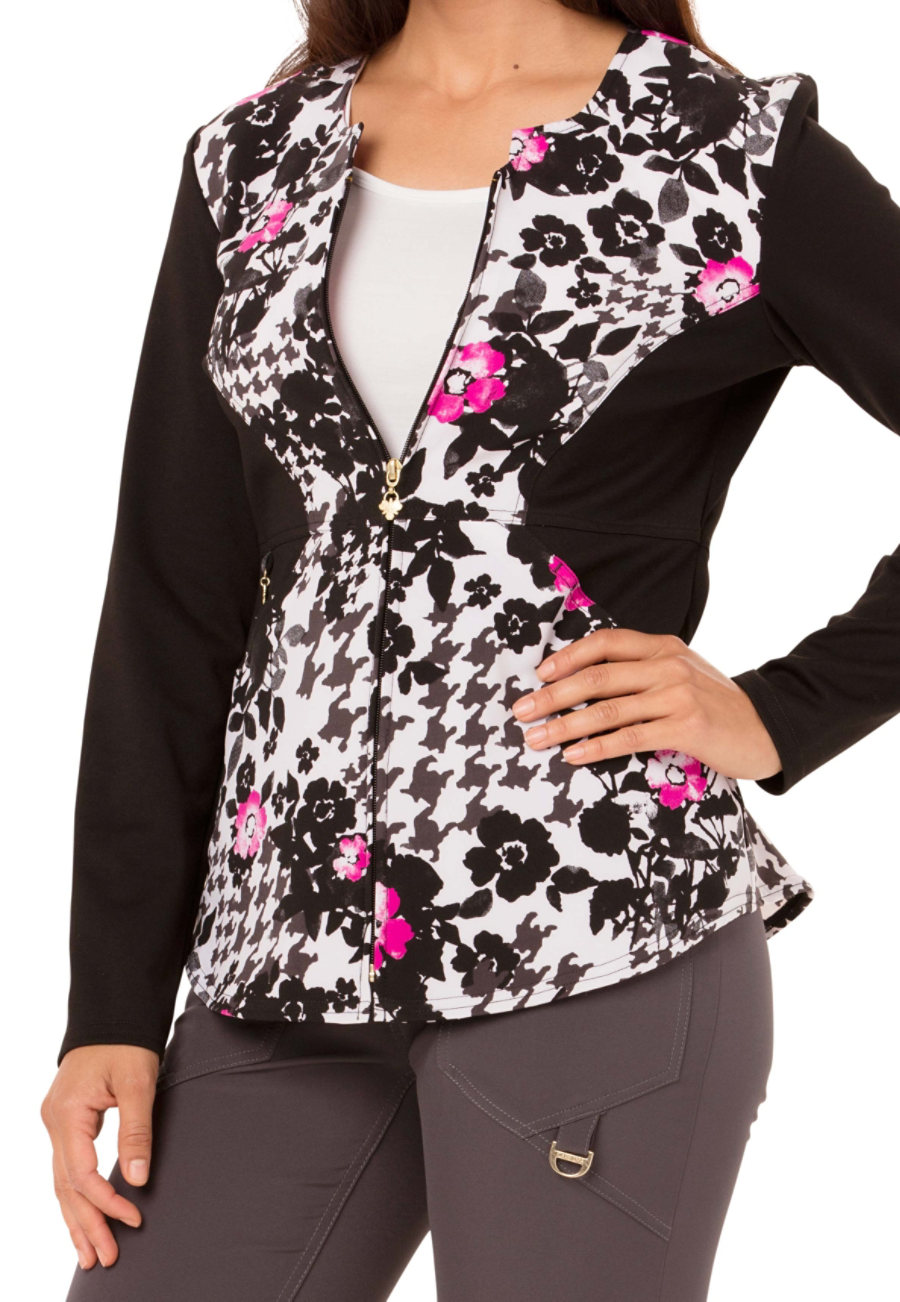 Careisma By Sofia Vergara Fiercely Flawless Flower Ever Your Girl Print Scrub Jackets - Flower Ever Your Girl