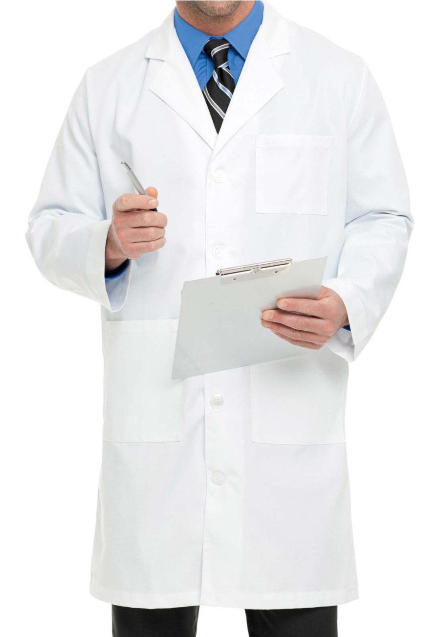 Landau Men's 40.5 Inch Knee Length Lab Coats - White twill - 34 plus size,  plus size fashion plus size appare