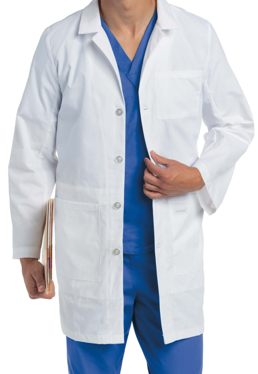 Landau mens lab coat with iPad pocket.
