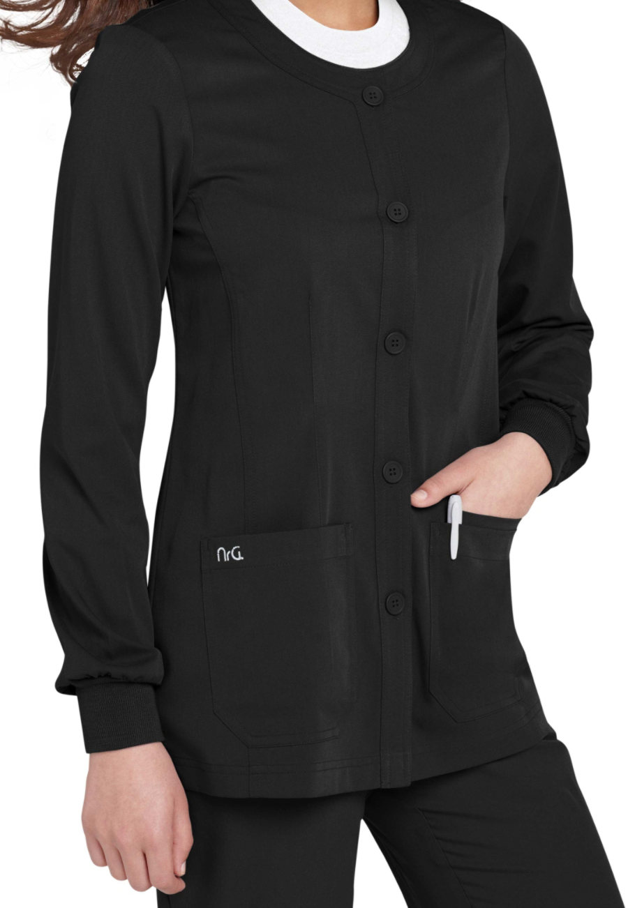 Barco NRG Round Neck Button Front Scrub Jackets