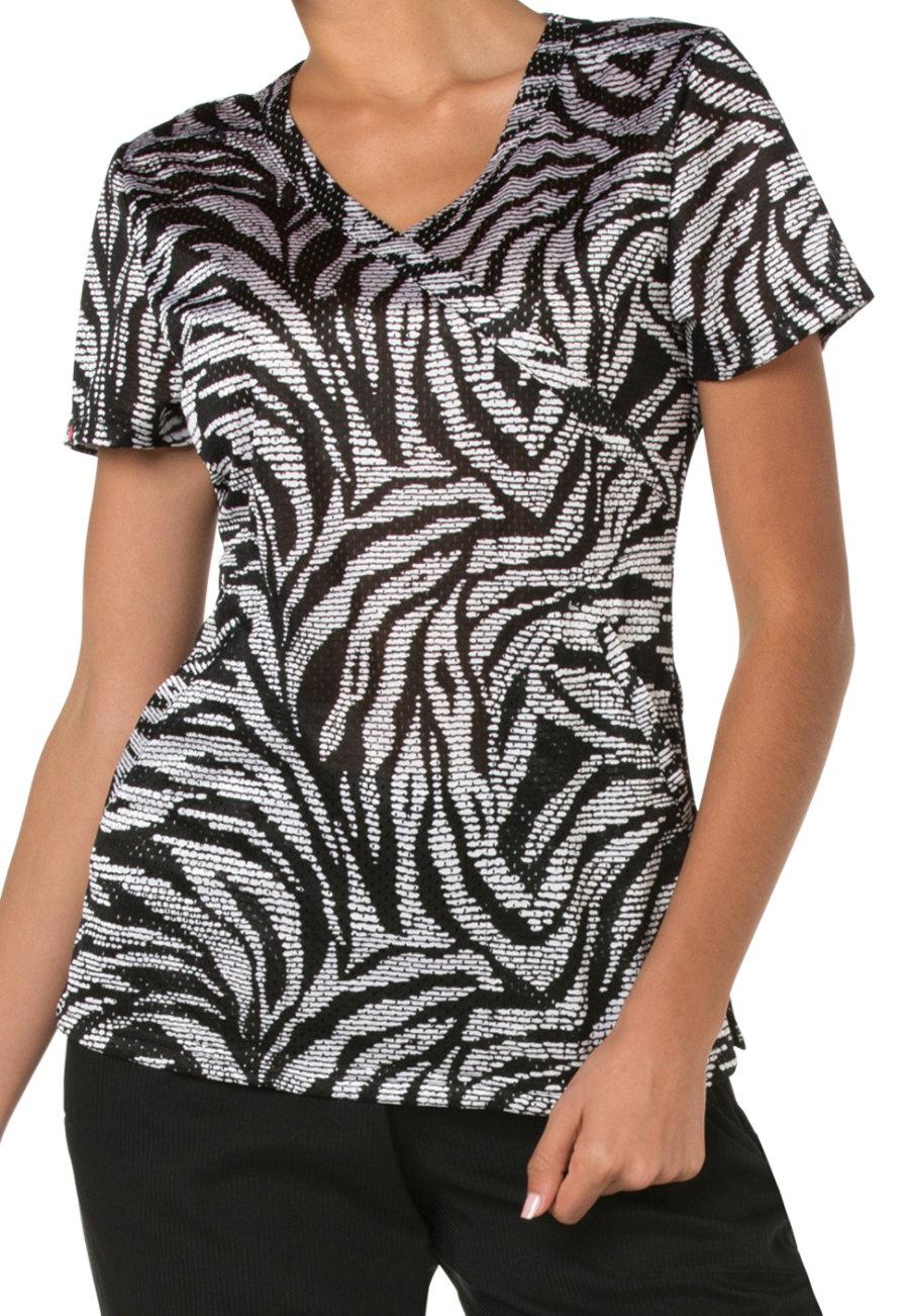 Koi Lite Zebra Stitched Crossover Print Scrub Top