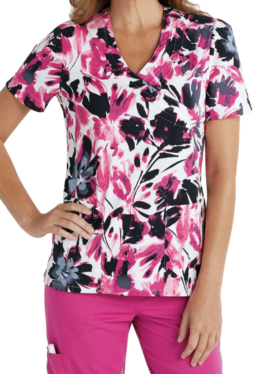 Landau Smart Stretch Emerging Blossoms Print Scrub Top