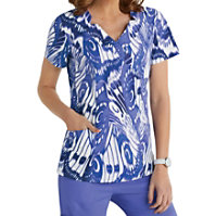 Landau Smart Stretch Luster Crossover Print Tops