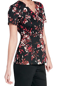 Landau Smart Stretch Woodland Floral V-neck Print Scrub Tops