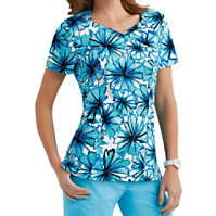 Landau Smart Stretch Pom Pom Crossover Print Tops
