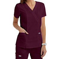 Grey's Anatomy 2 Pocket Mock Wrap Tops