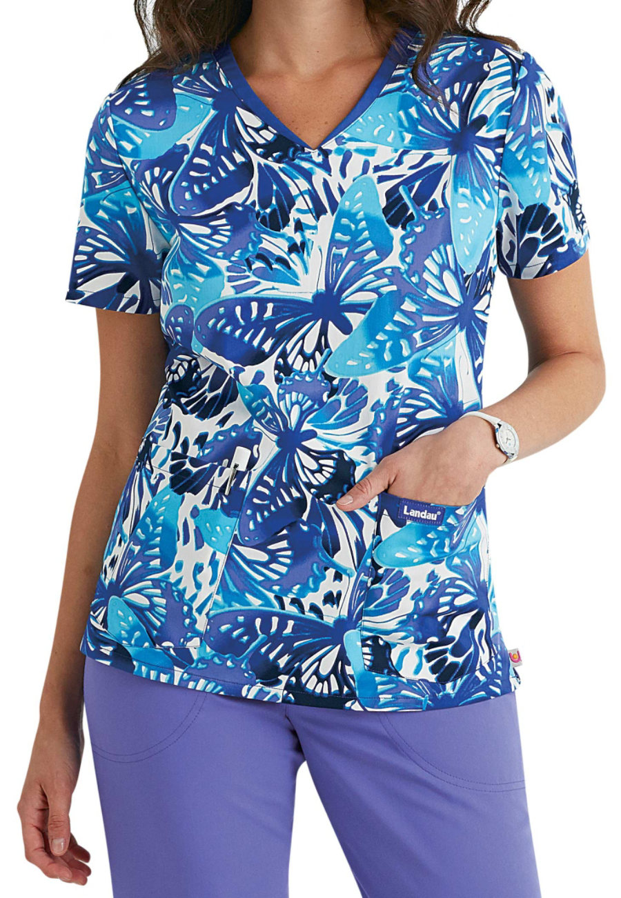 Landau Smart Stretch Evening Flight V-neck Print Scrub Tops