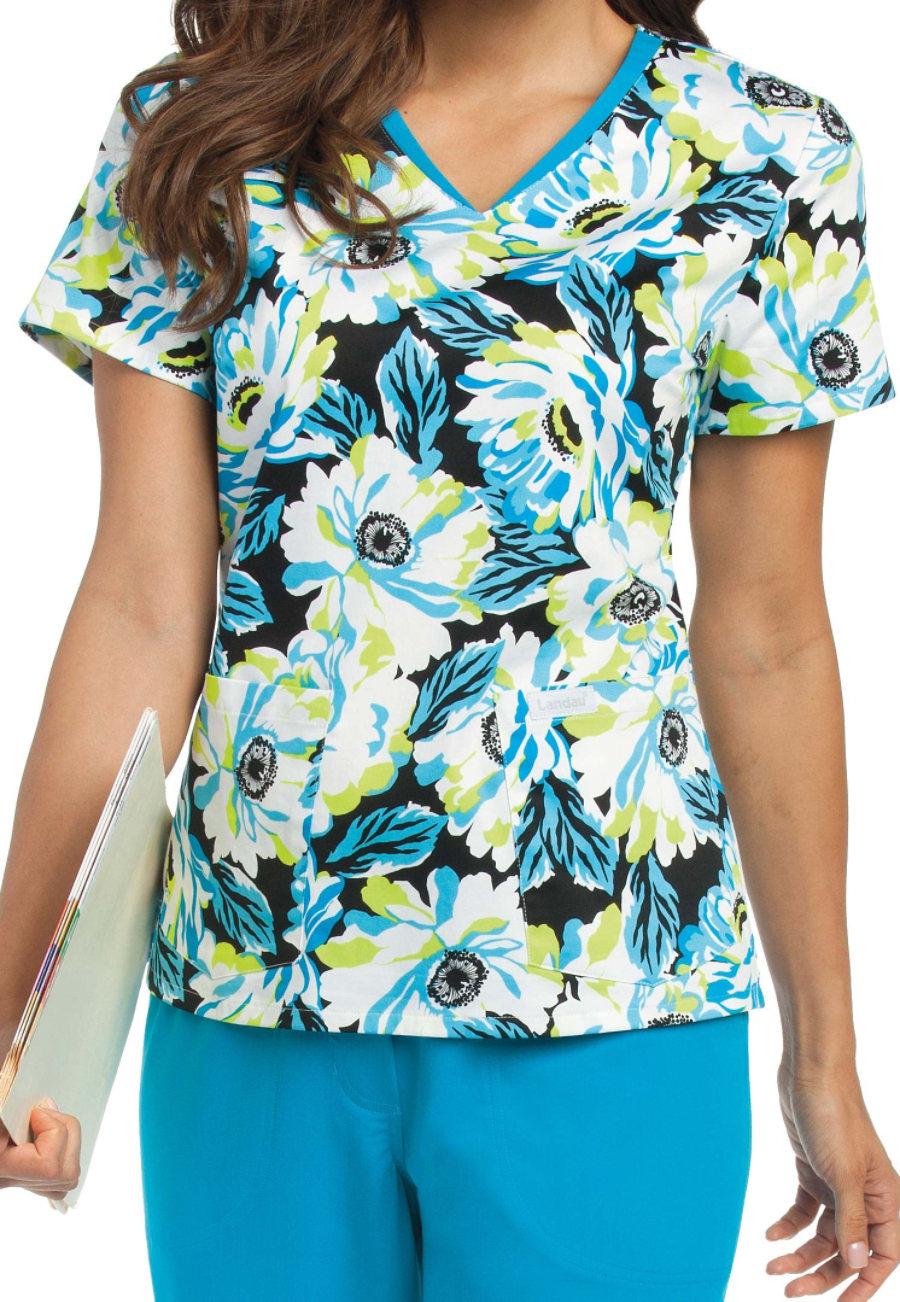 Image of Landau Smart Stretch Vivid Blooms V-neck Print Tops - Vivid Blooms - 2X