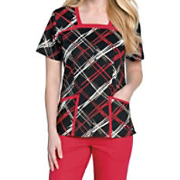 Landau Smart Stretch Wired Square Neck Print Tops