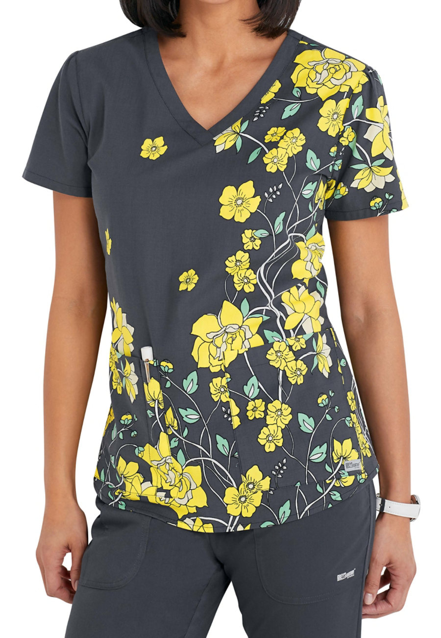 Grey's Anatomy Sweet Sunshine Nouveau V-neck Print Scrub Tops