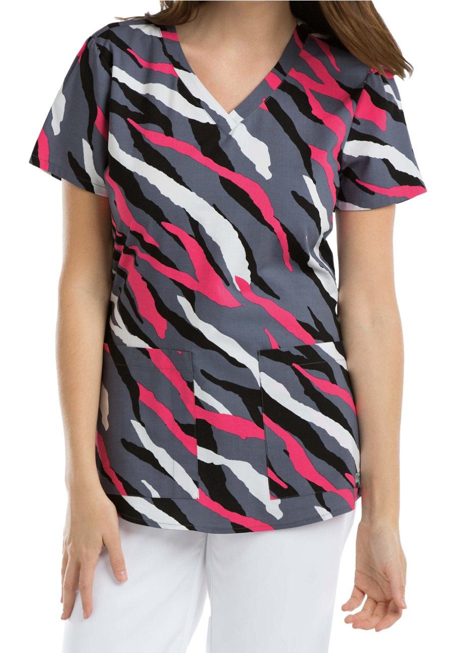Grey's Anatomy Zebra V-neck Print Scrub Tops - Zebra Print